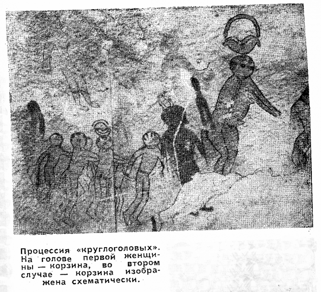 """Процессия """"Круглоголовых"""". На голове первой женины - корзина, во втором случае корзина изображена схематически."""